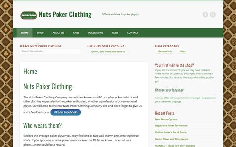 Screenshot of Home Page nutspokerclothing.com - Home - Nuts Poker Clothing - captured Aug. 14, 2016