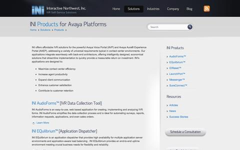 Screenshot of Products Page interactivenw.com - INI IVR Applications for Avaya Contact Centers   Interactive Northwest, Inc.   Interactive Northwest, Inc. - captured Nov. 3, 2014