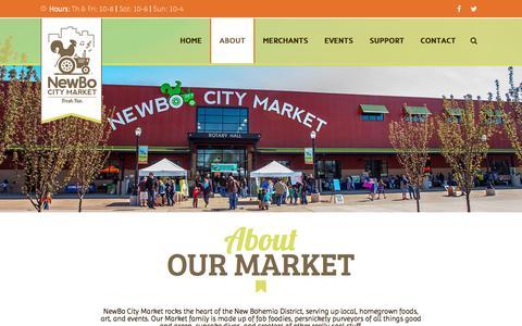 Screenshot of About Page newbocitymarket.com - About Us: NewBo City Market - captured Jan. 28, 2016