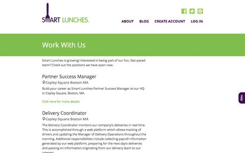 Screenshot of Jobs Page smartlunches.com - Smart Lunches | Jobs - captured July 18, 2019
