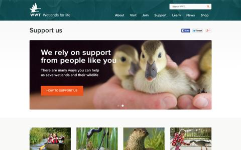 Screenshot of Support Page wwt.org.uk - WWT - Wetlands for life - Support us - captured Sept. 25, 2014