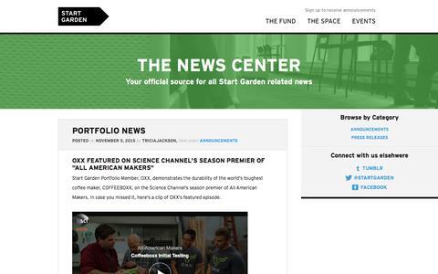 Screenshot of Press Page startgarden.com - News—Start Garden - captured Nov. 26, 2015