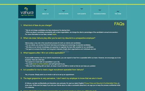 Screenshot of FAQ Page vahura.com - Vahura - Frequently Asked Questions (FAQs) - captured Jan. 12, 2016