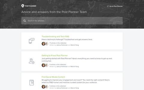 Screenshot of Support Page postplanner.com - Post Planner Help Center - captured July 2, 2019