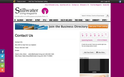 Screenshot of Contact Page stillwaterliving.com - Contact Us - captured Oct. 26, 2014