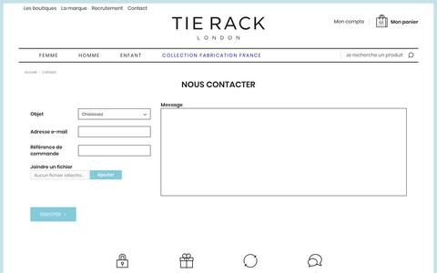 Screenshot of Contact Page Services Page tie-rack.fr - Nous contacter - captured Oct. 20, 2018