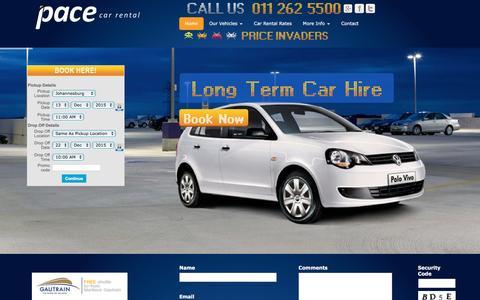 Screenshot of Home Page pacecarrental.co.za - Car Rental Johannesburg | Cheap Car Hire | Pace Car Rental - captured Dec. 6, 2015