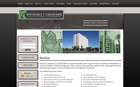 Screenshot of Services Page ktadvisors.com - Kiyohara & Takahashi LLP: A professional tax and accounting firm in Commerce, California: Services - captured Feb. 12, 2016