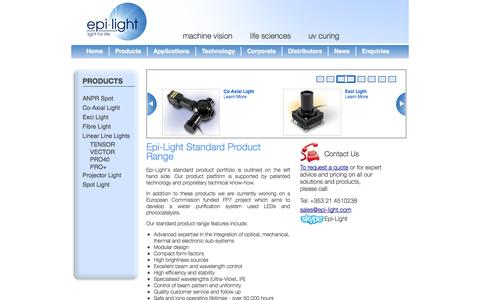 Screenshot of Products Page epi-light.com - Epi-Light Standard Product Range   Epi-Light - captured Sept. 30, 2014