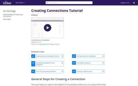 Creating Connections Tutorial