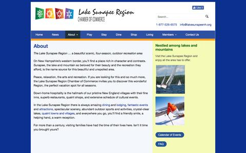 Screenshot of About Page lakesunapeenh.org - About - Lake Sunapee Chamber of Commerce - captured Oct. 19, 2016