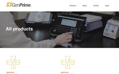 Screenshot of Products Page genprime.com - GenPrime - captured Nov. 4, 2016