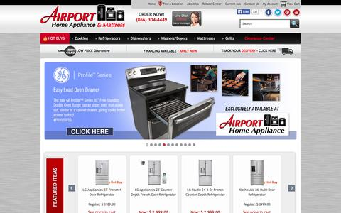 Screenshot of Home Page airportappliance.com - Airport Home Appliance - Shop for appliances in Northern California - captured Jan. 15, 2016