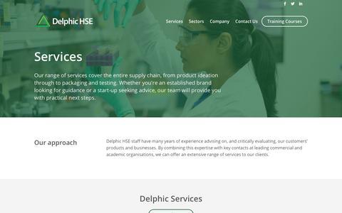 Screenshot of Services Page delphichse.com - Services   Delphic HSE - captured Aug. 6, 2018