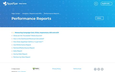 Performance Reports – Help Center