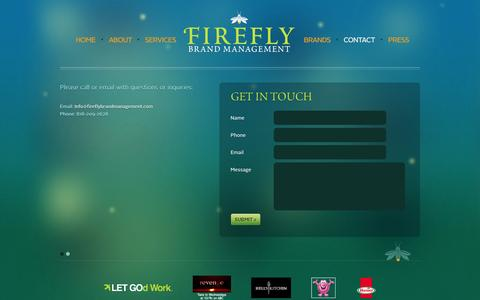 Screenshot of Contact Page fireflybrandmanagement.com - Contact Us | Firefly Brand Management - captured Sept. 30, 2014