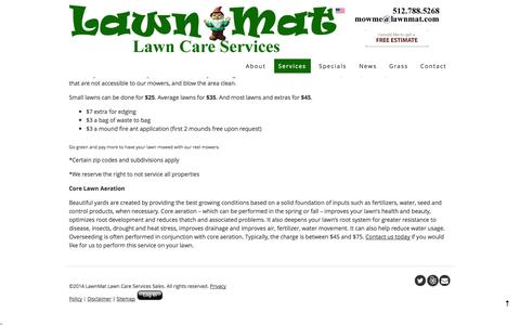 Screenshot of Services Page lawnmat.com - Lawn-Mat Lawn Care Services - Services   Lawn-Mat Lawn Care Services - captured Oct. 2, 2014