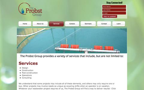 Screenshot of Services Page probstgroup.com - Services - captured Dec. 1, 2016