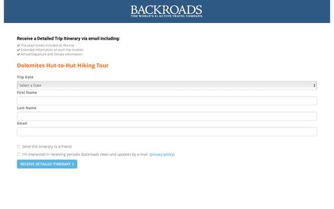 Screenshot of Landing Page backroads.com - MyBackroads - Detailed Itinerary - captured Dec. 27, 2016
