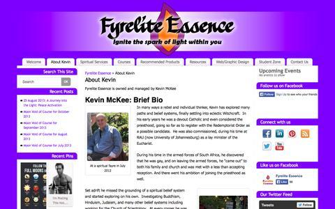 Screenshot of About Page fyreliteessence.co.za - About Kevin Fyrelite Essence - captured Sept. 30, 2014