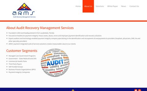 Screenshot of About Page auditrecoveryinc.com - About   - captured Oct. 4, 2014