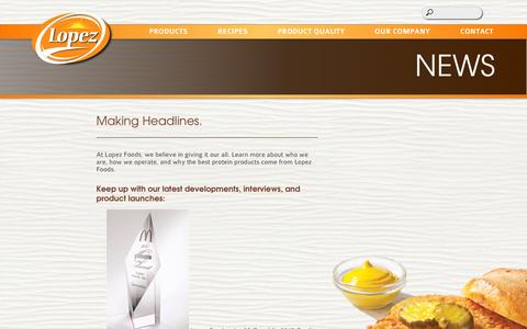 Screenshot of Press Page lopezfoods.com - Lopez Foods - captured Oct. 3, 2014