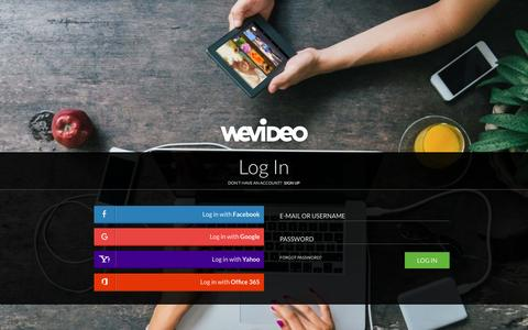 Screenshot of Login Page wevideo.com - Login - WeVideo - captured Dec. 10, 2015