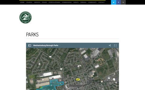 Screenshot of Locations Page mechanicsburgborough.org - Parks - Borough of Mechanicsburg - captured Feb. 8, 2016