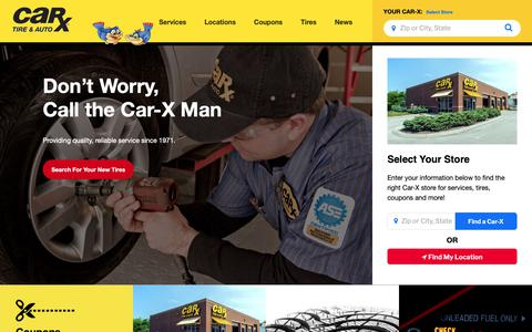 Screenshot of Home Page carx.com - CAR-X | Auto Repair, Oil Change, Tires, Brakes, Scheduled Maintenance - captured Sept. 26, 2018