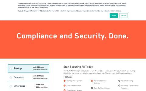 Screenshot of Pricing Page truevault.com - Features and Pricing - TrueVault - TrueVault - captured Aug. 18, 2018