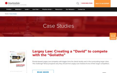 "Screenshot of Case Studies Page martindale.com - Martindale Hubbell | Largey Law: Creating a ""David"" to compete with the ""Goliaths"" - captured Nov. 20, 2017"