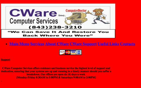 Screenshot of Support Page cware.net - Support - captured Oct. 15, 2016