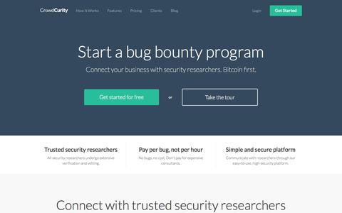 Screenshot of Home Page crowdcurity.com - Get Your Own Bug Bounty Program   CrowdCurity - captured Sept. 13, 2014