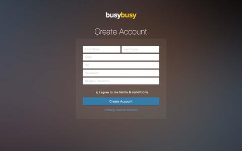 Screenshot of Signup Page busybusy.com - busybusy.com - captured Sept. 30, 2014