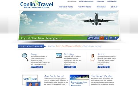 Screenshot of Home Page conlintravel.com - Welcome to Conlin Travel - A family-owned travel agency since 1959. - captured June 19, 2015