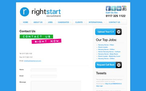 Screenshot of Contact Page rightstartrecruit.com - Contact Us | Right Start Recruitment - captured Oct. 26, 2014