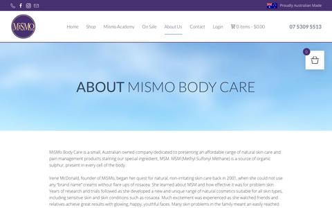 Screenshot of About Page mismo.com.au - About Us - MiSMo - captured Dec. 20, 2018