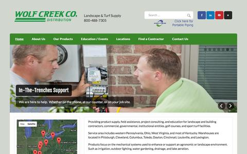 Screenshot of Home Page wolfcreekcompany.com - Wolf Creek- Irrigation|Landscape Supplies|Lighting|Drainage|Water features - captured Feb. 23, 2016