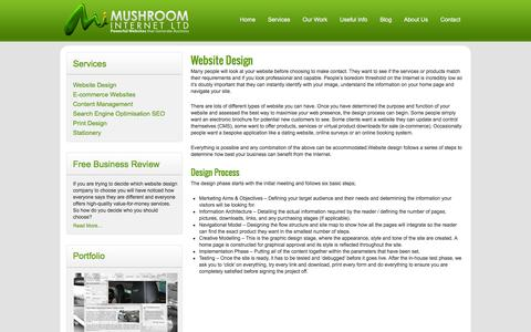 Screenshot of Services Page mushroominternet.com - Website Design - Mushroom Internet - captured Jan. 11, 2016
