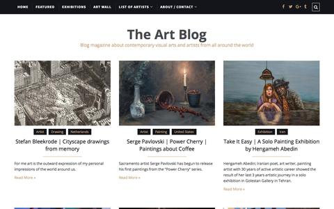 Screenshot of Home Page the-art-blog.info - The Art Blog | Contemporary visual arts and artists blog magazine - captured Feb. 18, 2018