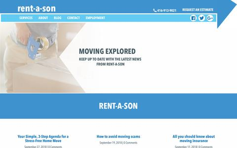 Screenshot of Press Page rentason.ca - Rent-A-Son News | Toronto's Best Movers and Moving Services - captured Oct. 20, 2018