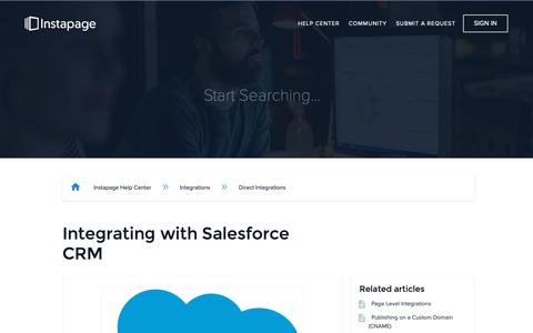 Screenshot of Support Page instapage.com - Integrating with Salesforce CRM – Instapage Help Center - captured Nov. 9, 2018