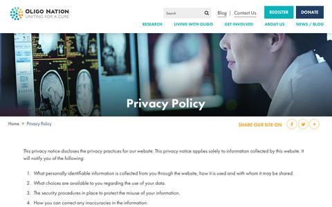 Screenshot of Privacy Page oligonation.org - Privacy Policy | Oligo Nation - captured Sept. 20, 2018