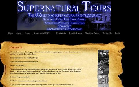 Screenshot of Contact Page supernatural-tours.co.uk - Contact Us - captured Sept. 30, 2014