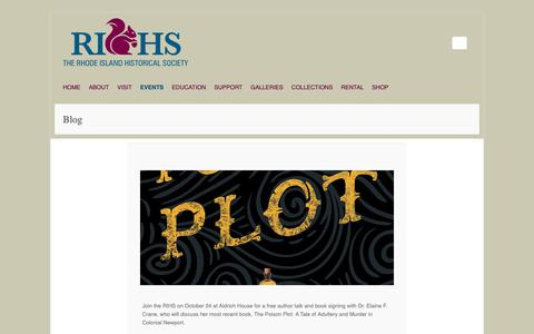 Screenshot of Blog rihs.org - Blog – Rhode Island Historical Society - captured Oct. 20, 2018