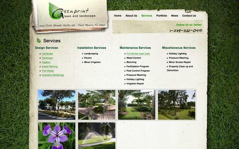 Screenshot of Services Page greenprintlawncare.com - Fort Myers Lawn Care Services | Greenprint Lawn & Landscape - captured Oct. 3, 2014