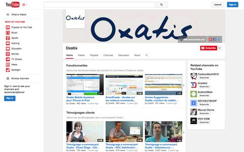 Screenshot of YouTube Page youtube.com - Oxatis  - YouTube - captured Oct. 22, 2014