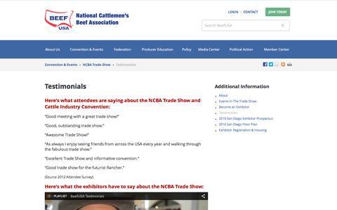 Screenshot of Testimonials Page beefusa.org - Testimonials - Beef USA - captured Feb. 2, 2016