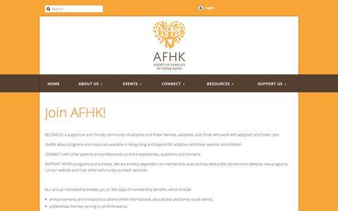 Screenshot of Signup Page afhk.org.hk - (AFHK) Adoptive Families of Hong Kong - Membership - captured Nov. 20, 2016