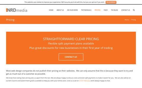 Screenshot of Pricing Page nrdmedia.co.uk - Pricing - NRD media website design in Chorley, Lancashire. - captured Dec. 24, 2015
